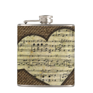 Steampunk Heart Wings Victorian Music Sheet Flasks