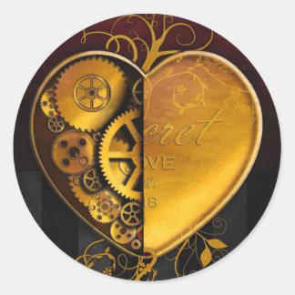 Steampunk Locket Heart Round Sticker