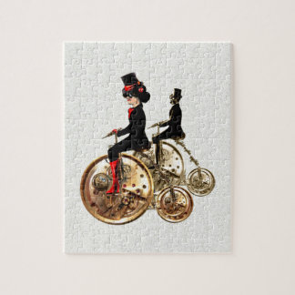 Steampunk man woman penny farthings gifts by LeahG Puzzle