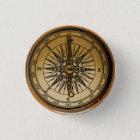 Steampunk Nostalgic Old Brass Compass 3 Cm Round Badge