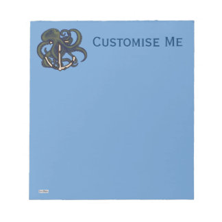 Steampunk Octopus Over Anchor Notepad