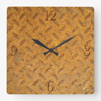 Steampunk Old Rusty Plating Metal Effect Square Wall Clock