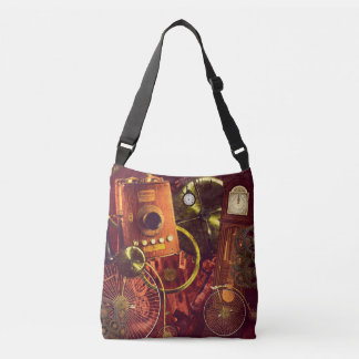 Steampunk penny-farthings grandfather clock gears crossbody bag