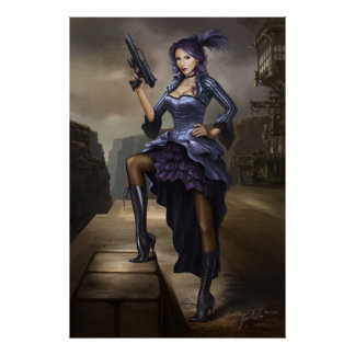 Steampunk Pirate lady poster