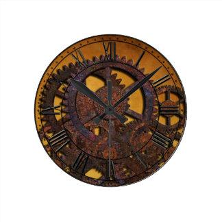 Steampunk Rusty Gears Round Clock
