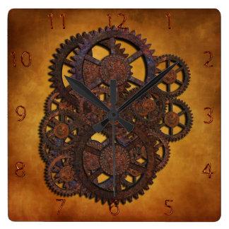 Steampunk Rusty Gears Square Wall Clock