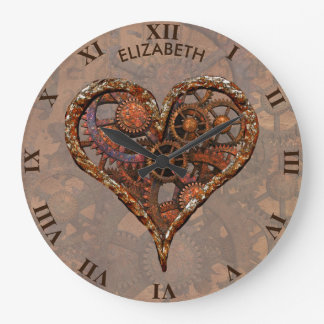 Steampunk Rusty Vintage Heart From Metal Gears Large Clock