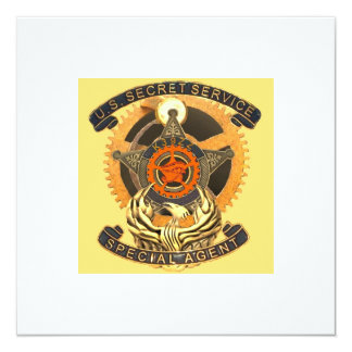 Steampunk Secret Service Badge Party Invite