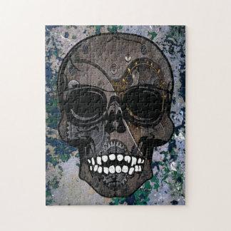 Steampunk Skull Gray Jigsaw Puzzle