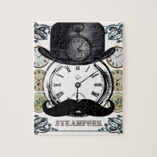 steampunk watch, bowler and moustache puzzle