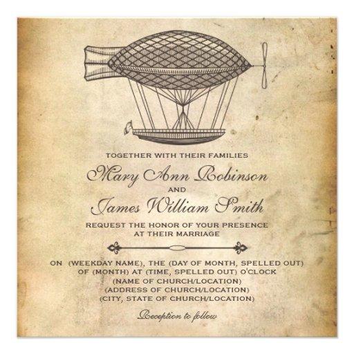 Steampunk Wedding Victorian Airship Announcements
