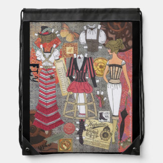 Steampunk Whimsy II Paper Doll Art Drawstring Pack Drawstring Bag