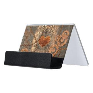 Steampunk, wonderful heart made of rusty metal desk business card holder
