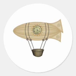 steampunk zeppelin airship classic round sticker