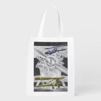 Stearman Biplane Reusable Grocery Bag