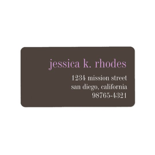Steel grey lilac typography modern return address address label