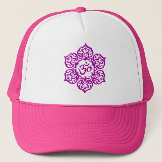 Steel Lotus Flower Om Design - purple Trucker Hat