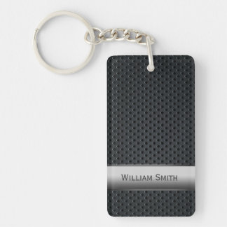 Steel striped dark metal Double-Sided rectangular acrylic key ring
