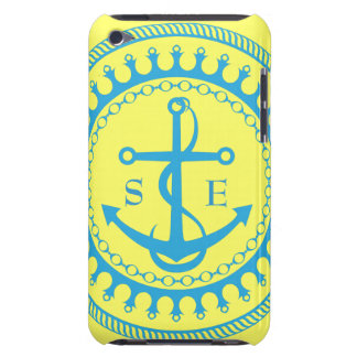 StellaRoot Anchor Yellow Aqua Preppy Personalise Barely There iPod Cover