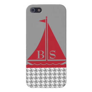 StellaRoot Preppy Sailboat Houndstooth Customize iPhone 5/5S Cover