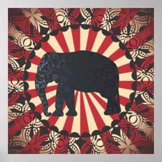 StellaRoot Vintage Circus Elephant Free Mandarin Poster