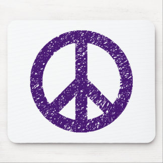 Stencilled Peace Symbol - Dp Purple Mouse Pad