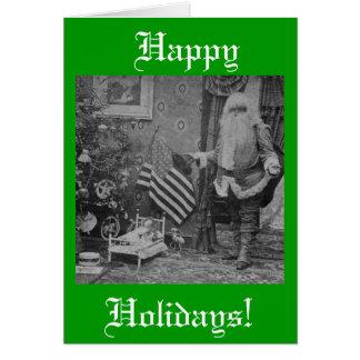 Stereoview Santa & American Flag Vintage Christmas Greeting Card
