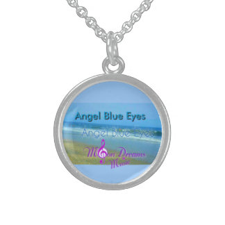 """Sterling Silver """"Angel Blue Eyes"""" Round Necklace"""