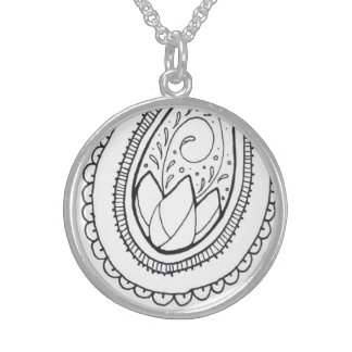 Sterling Silver Lotus Paisley Pendant