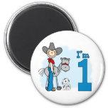 Stick Cowboy 1st Birthday 6 Cm Round Magnet