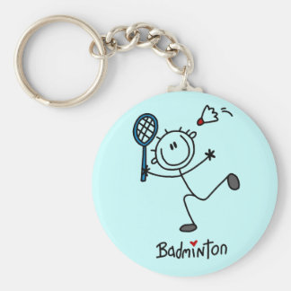 Stick Figure Badminton T-shirts and Gifts Basic Round Button Key Ring