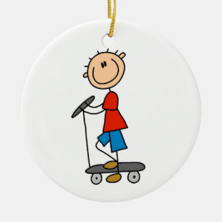 Stick Figure Boy on Scooter Christmas Ornament