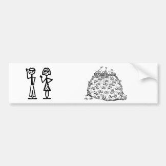 Stick figure family (no kids) bumper sticker