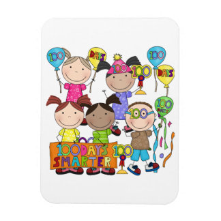 Stick Figure Kids 100 Days Smarter Magnet