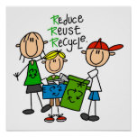 Stick Figure Reduce  Reuse Recycle T-shirts Print