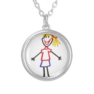 Stick Girl Round Pendant Necklace
