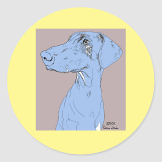 Sticker Dog Drawing Doberman Color Backgroud