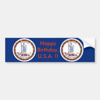 Sticker Flag of Virginia, Happy Birthday U.S.A.! Car Bumper Sticker