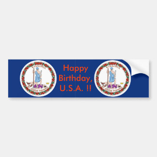 Sticker Flag of Virginia, Happy Birthday U.S.A.! Bumper Sticker
