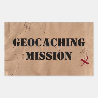 Sticker: Geocaching Mission, on an Old Map Rectangular Sticker