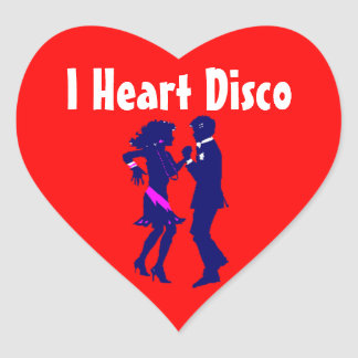 Sticker I Heart Disco Dance Dancing Couple Red Wh