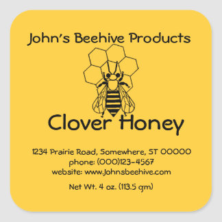 Sticker (lg sq)- Honey Business - Bee on Comb