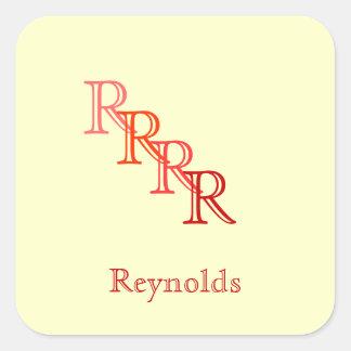 Sticker - Monogram with Name 2 Square Sticker