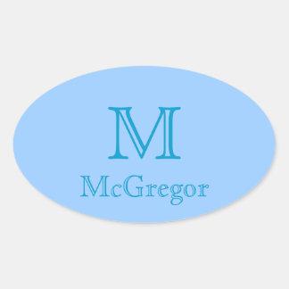 Sticker - Monogram with Name 3 Oval Sticker