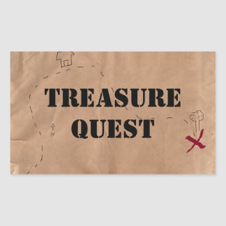 Sticker: Treasure Quest, on an Old Map Rectangular Sticker