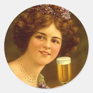 Sticker Vintage Advert Stemware Beer Toasting Lady