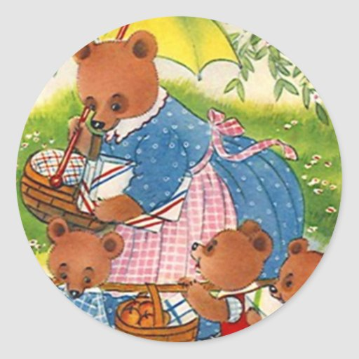 Sticker Vintage Bears Picnic Summer Family Reunion