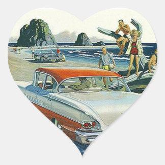 Sticker Vintage Car Auto Red White Two-tone Beach