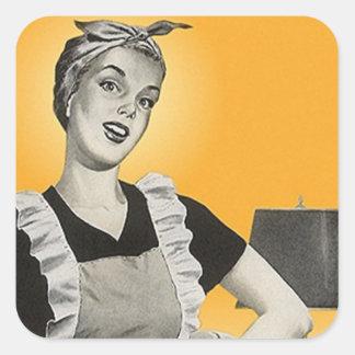 STICKER Vintage Happy Housekeeper Vacuum Squares