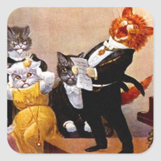 Sticker Vintage Musical Soiree Singing Cat Concert